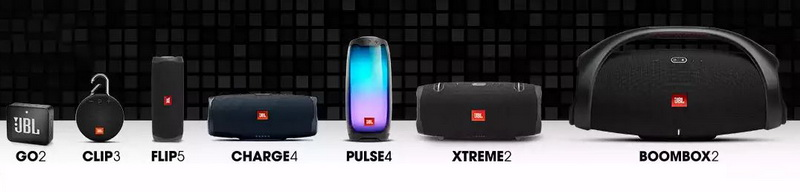 JBL's current Bluetooth speaker line