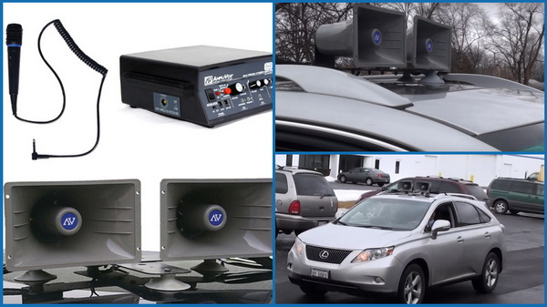 Removable car PA systems with suction cups